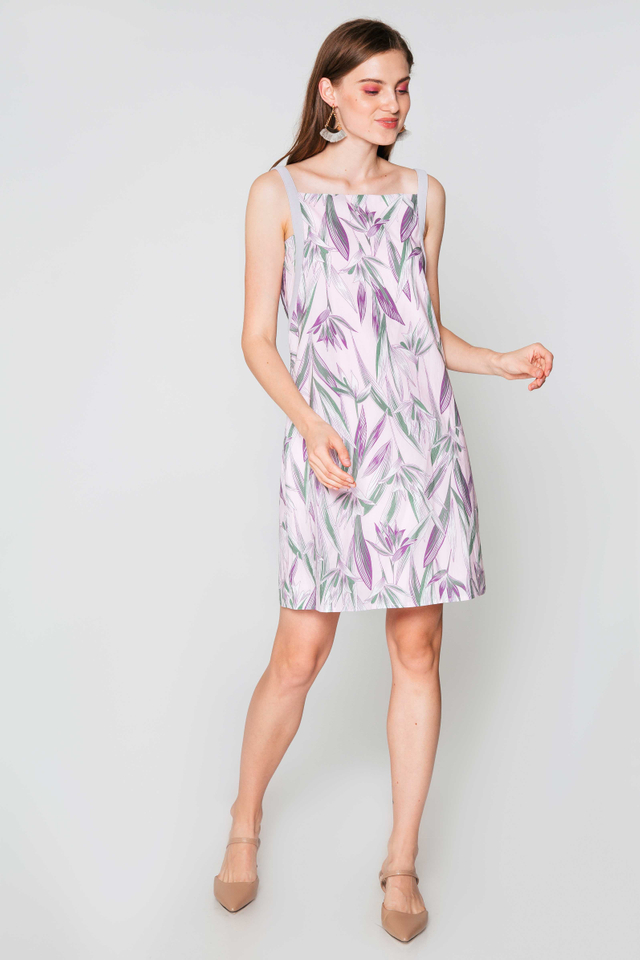 ADRIENNE LEAF PRINTED DRESS