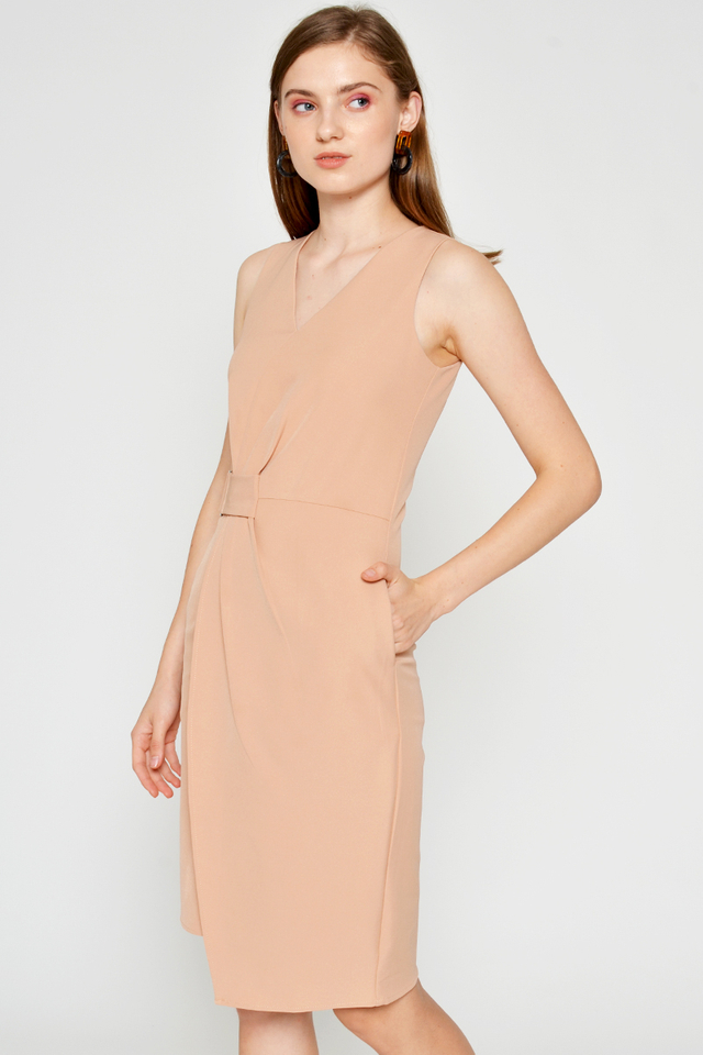 ALONDRA RUCHED SIDE BUCKLE DRESS