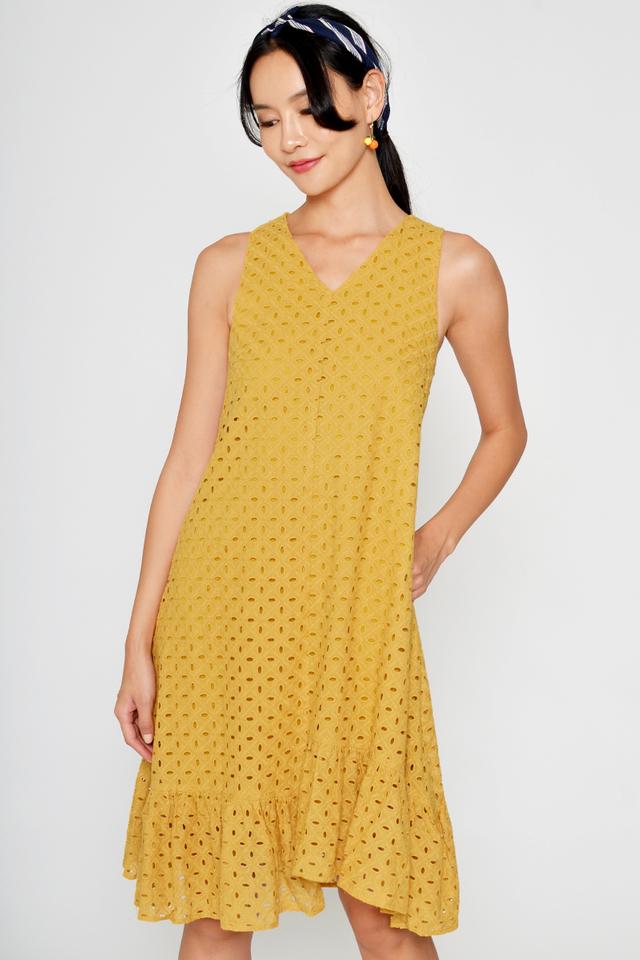 CORINA EYELET HIGH-LOW HEM DRESS