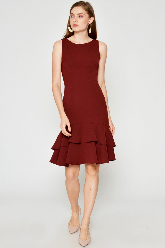 HADLEY LAYERED FLOUNCE HEM DRESS