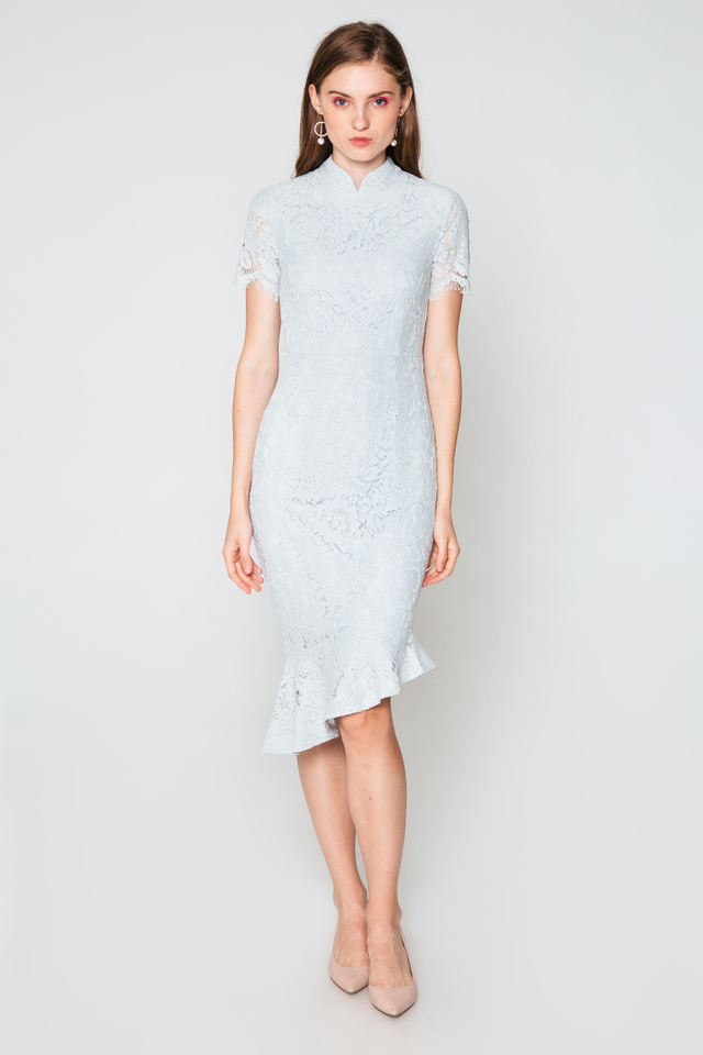 NELANI LACE ASYMMETRICAL MIDI DRESS
