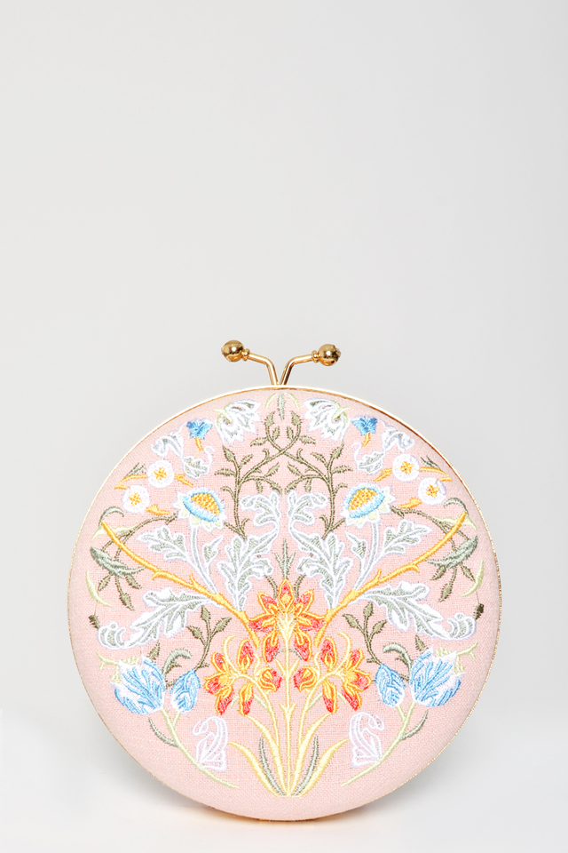 PASTEL FLORAL EMBROIDERY ROUND BAG
