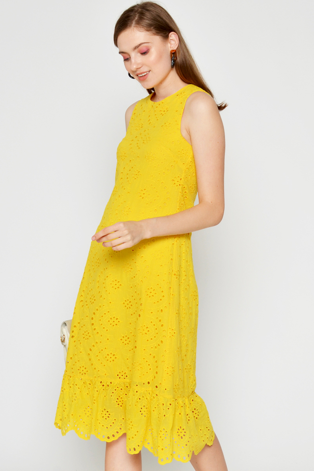 REINA EYELET MIDI DRESS W DETACHABLE COLLAR