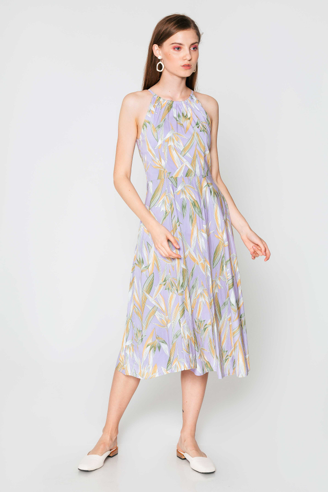 SONIA LEAF HALTER MIDI DRESS