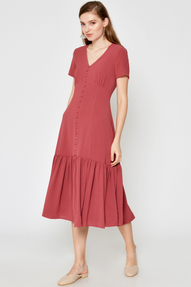 ALYSSA BUTTONDOWN DROPWAIST MIDI DRESS