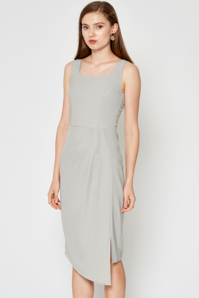 DELANCY SQUARE NECK DRAPE DRESS