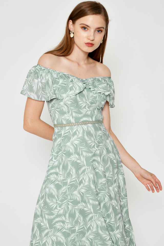 DELFIQUE LEAF PRINTED RUFFLE MIDI DRESS