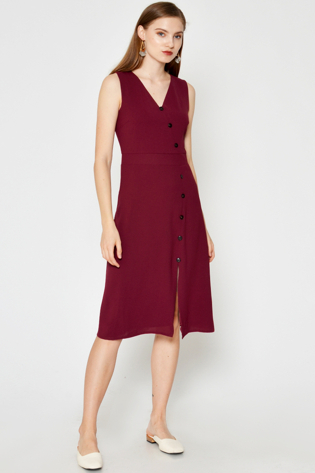 ELIZA BUTTONDOWN SLIT DRESS