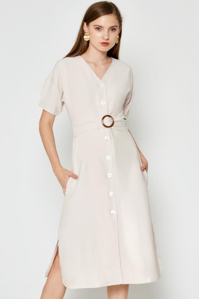 FLORENCE BUTTONDOWN DRESS W BELT SASH