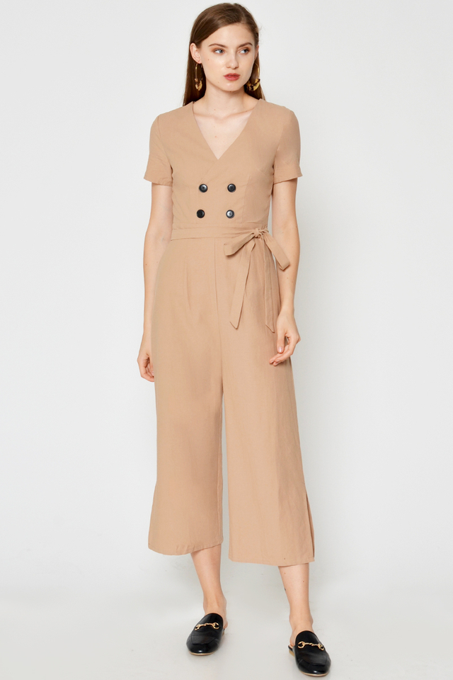 FRANCINA BUTTON JUMPSUIT W SASH
