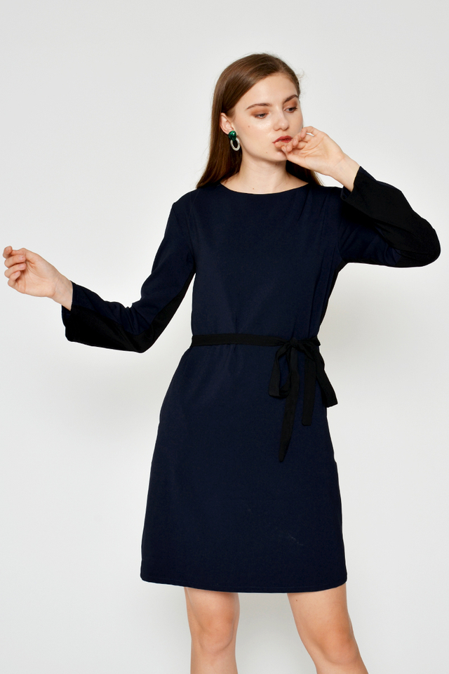MEKENA COLOURBLOCK DRESS W SASH