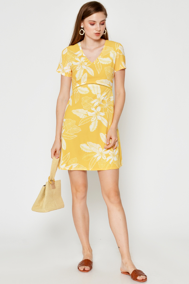 NELLY FLORAL CUTOUT FLARE DRESS
