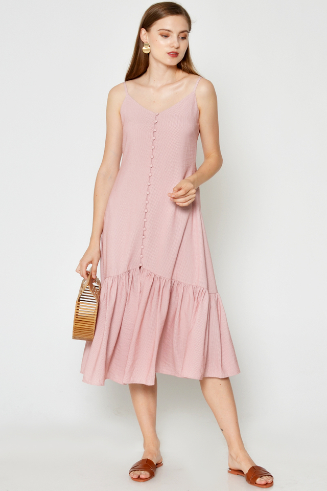 SHIORI PINSTRIPE BUTTONDOWN MIDI DRESS