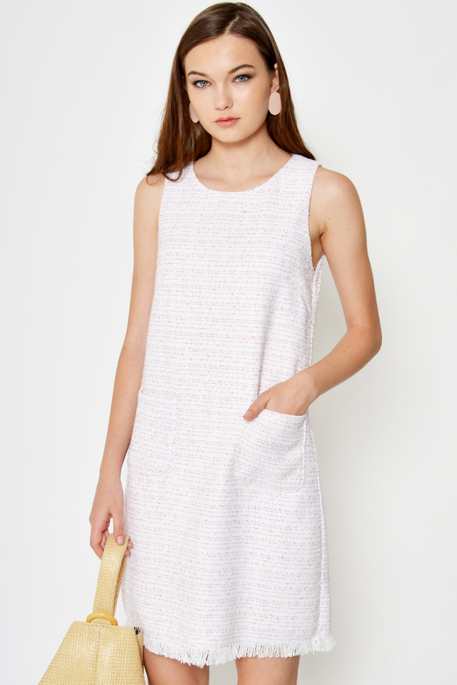 VALLEN TWEED POCKET SHIFT DRESS