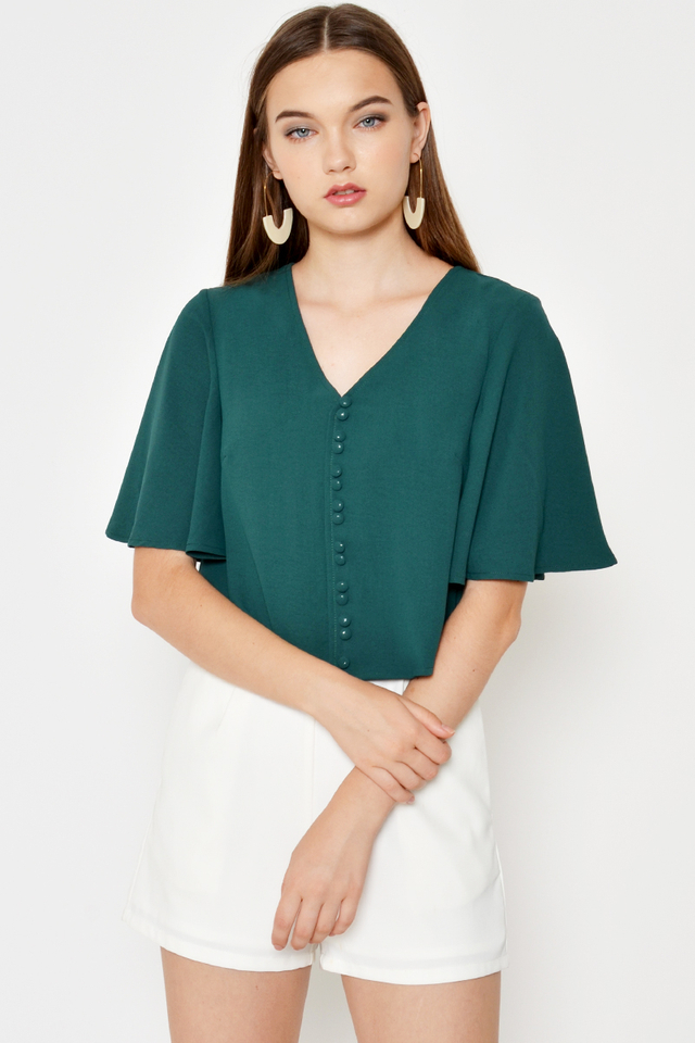 FLORRIE FLUTTER SLEEVE TOP