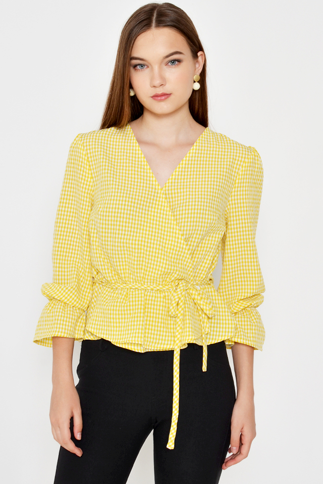 JENNIFER CHECKERED WRAP TOP