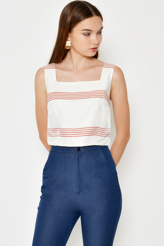 JOLIE SQUARENECK STRIPE TOP