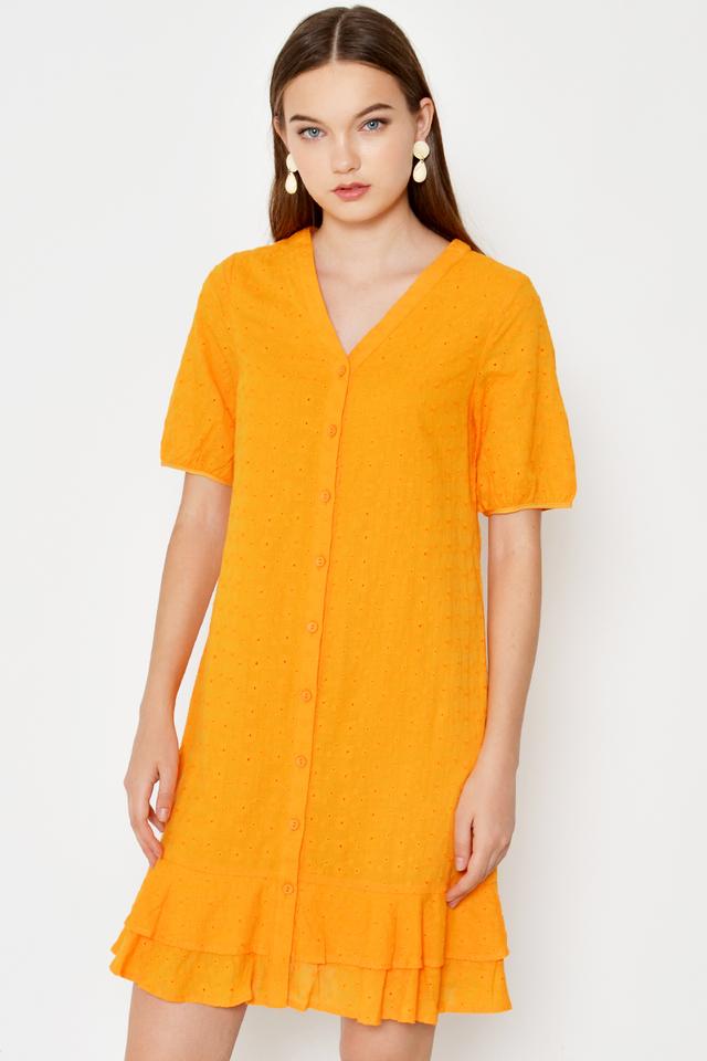 LANDY EYELET TIERED DROPWAIST DRESS