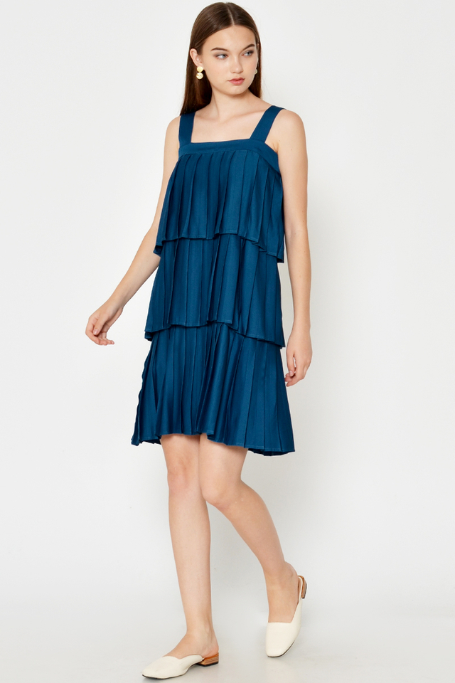 OLENNA PLEATED TIERED DRESS