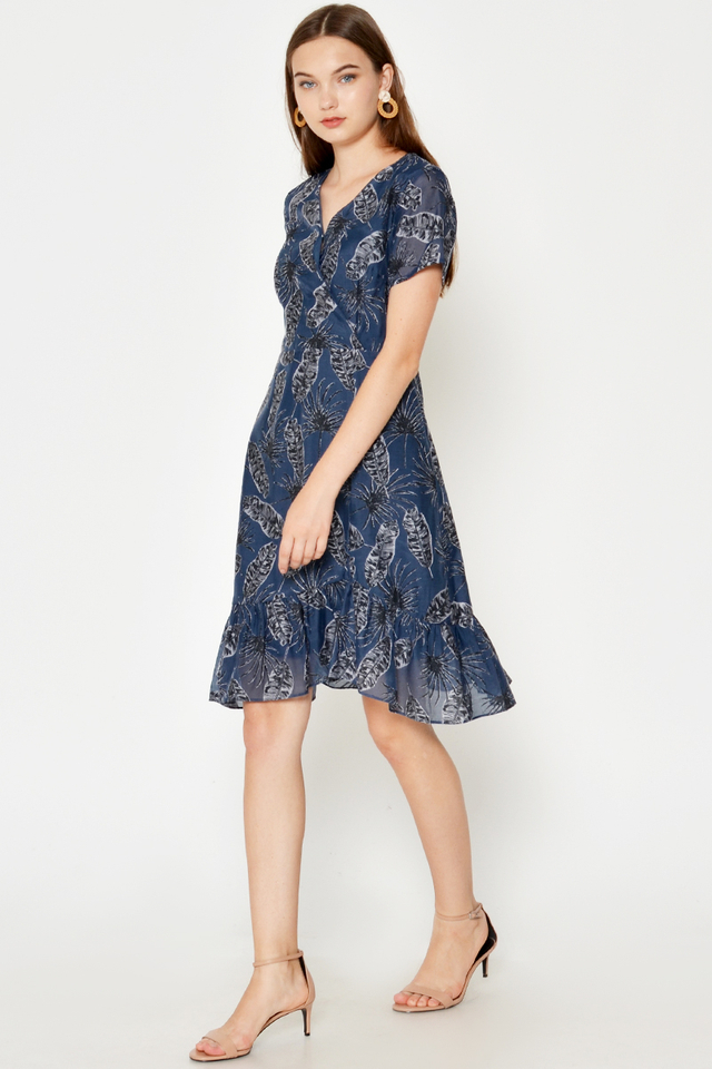 IRELYN LEAF PRINTED WRAP DRESS