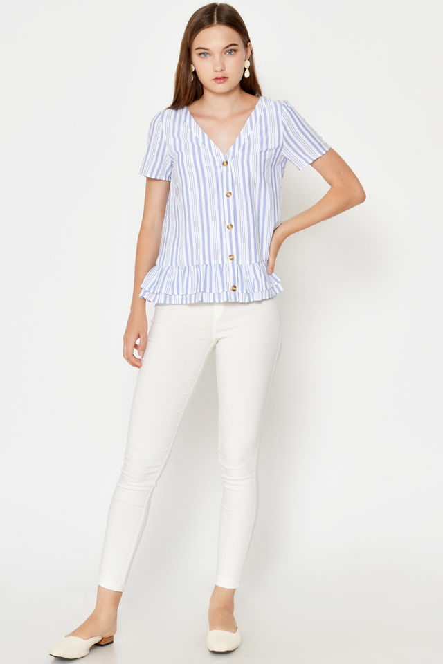 RIKA STRIPE BUTTONDOWN RUFFLE TOP