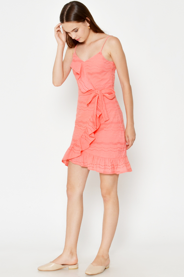 RIMONA RUFFLE EYELET WRAP DRESS