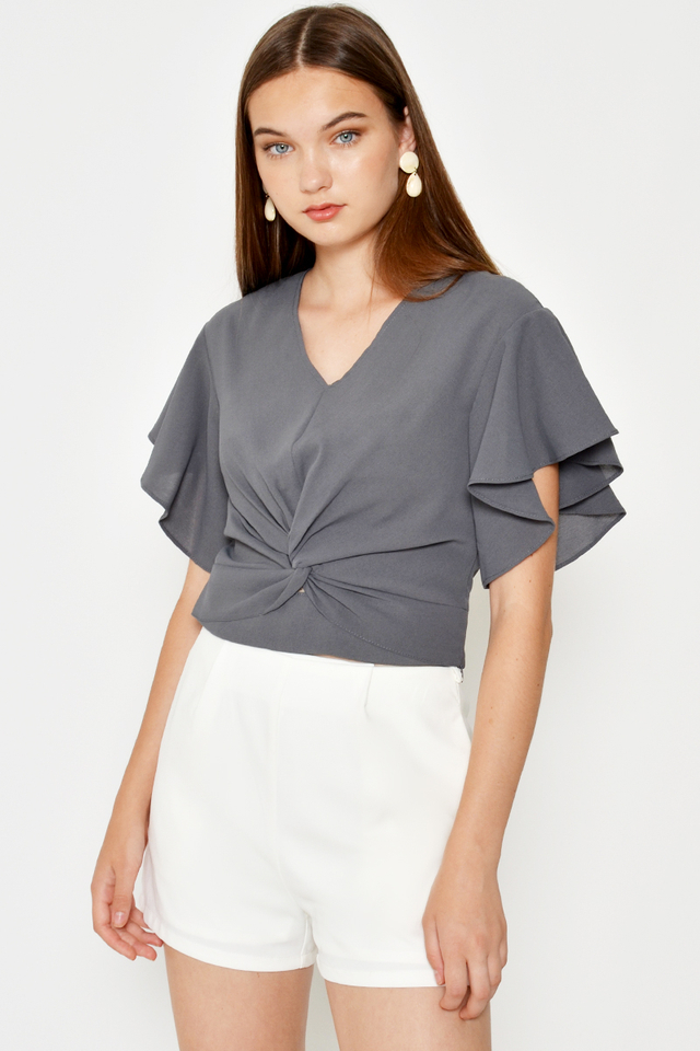 KIYA TWISTED KNOT FLUTTER SLEEVE TOP