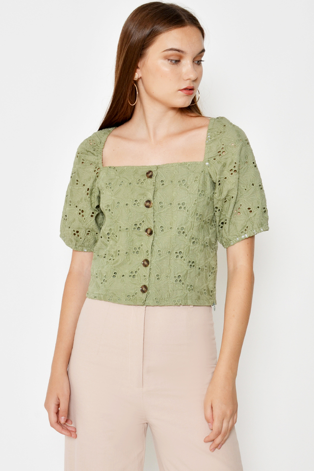 SHANICE EYELET BUTTONDOWN TOP