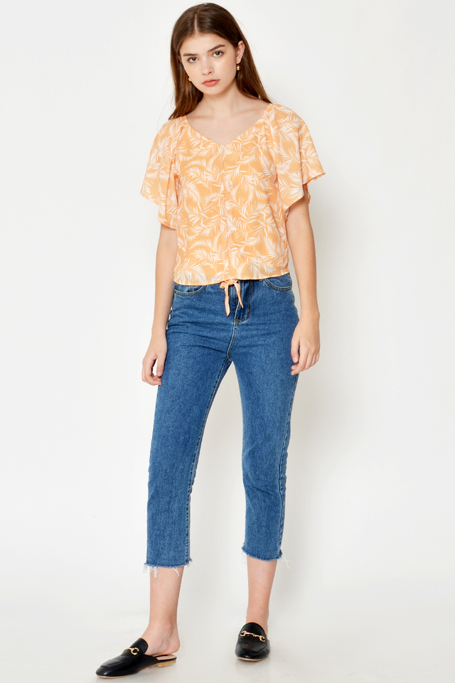 ALTHEA RUCHED LEAF PRINTED TOP