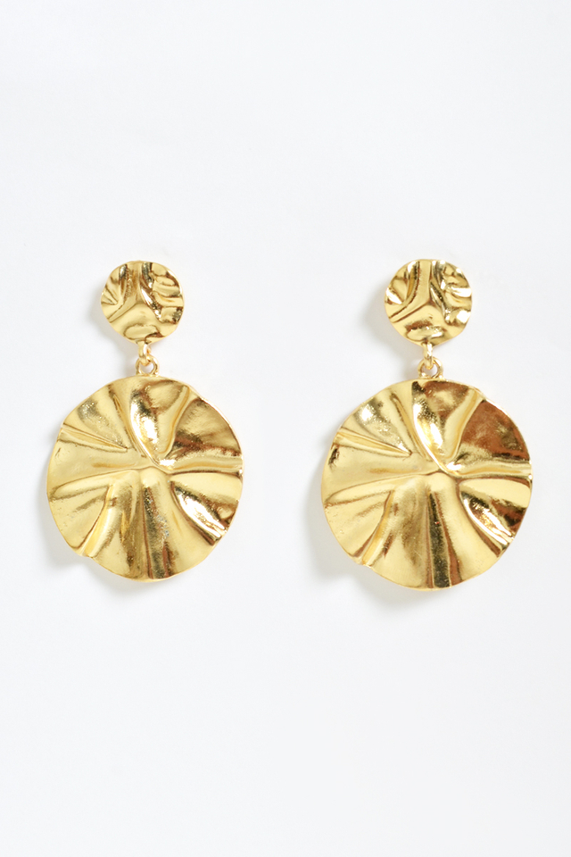 DUO CRINKLE DROP EARRINGS GOLD