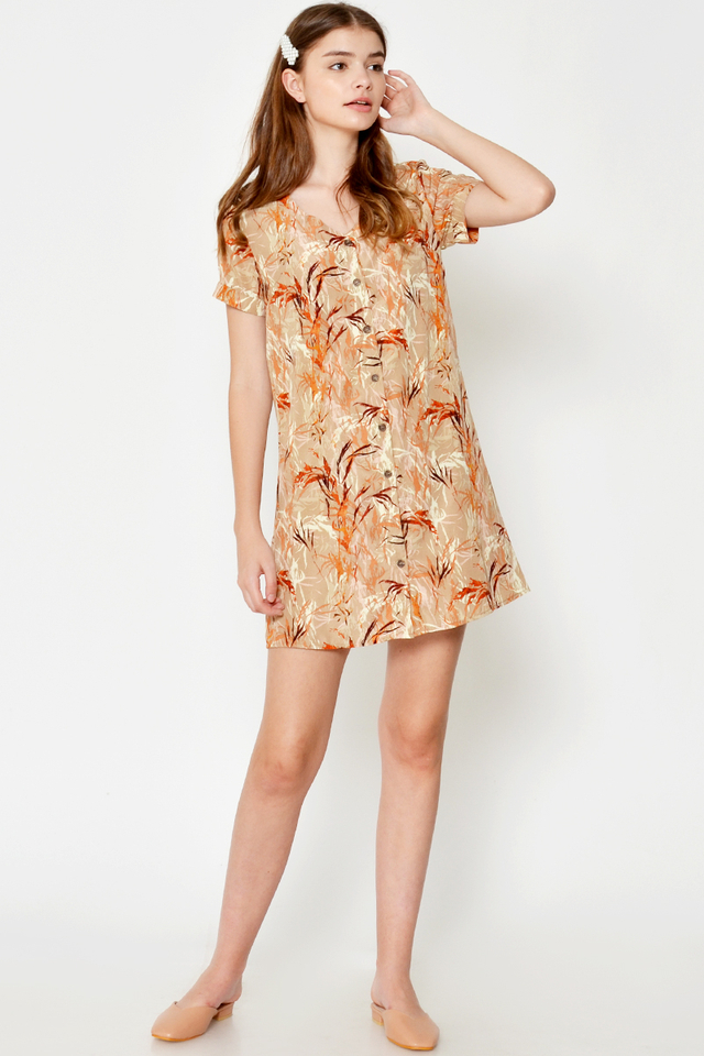FREYA ABSTRACT BUTTONDOWN DRESS W SASH