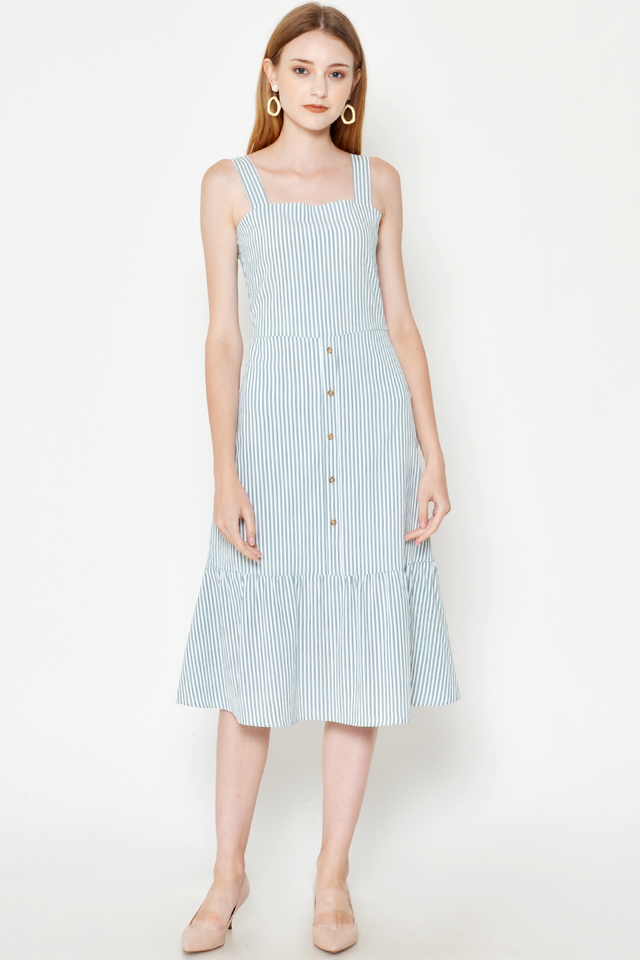 JOSIE STRIPE FLOUNCE HEM MIDI DRESS
