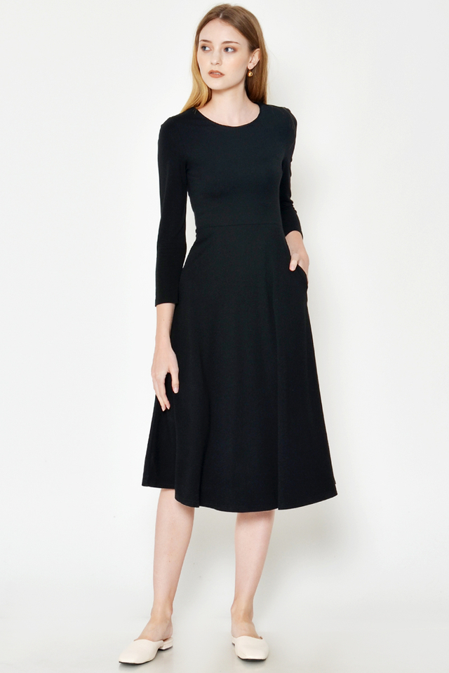 MADELINE LONG SLEEVE MIDI FLARE DRESS