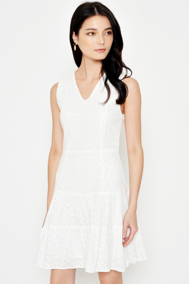 KAYLA EYELET TIERED FLARE DRESS