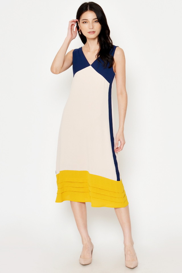 KLAIRE COLOURBLOCK MIDI DRESS