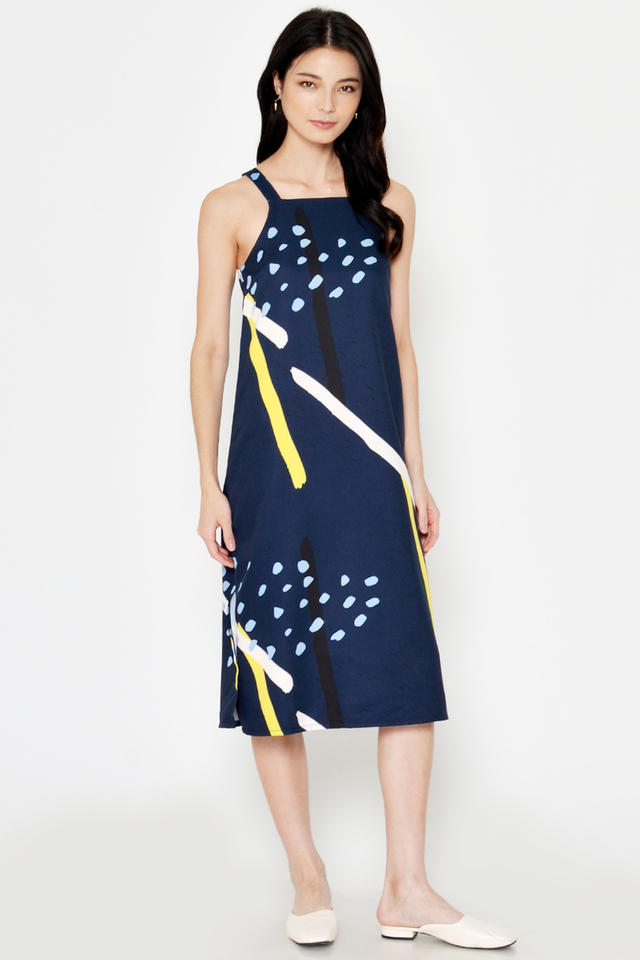 LUANNE ABSTRACT MIDI DRESS