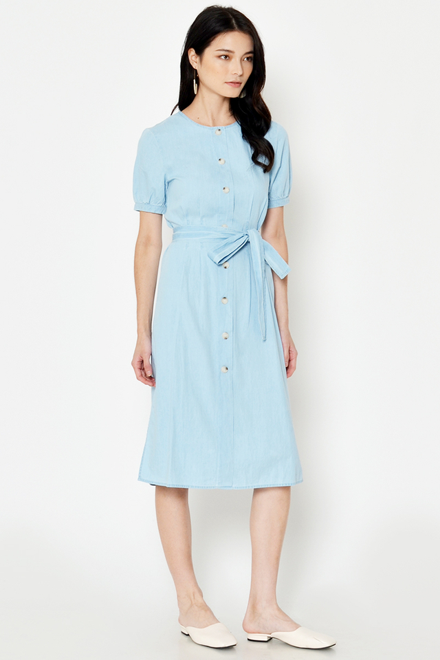 MORAY BUTTONDOWN DRESS W SASH