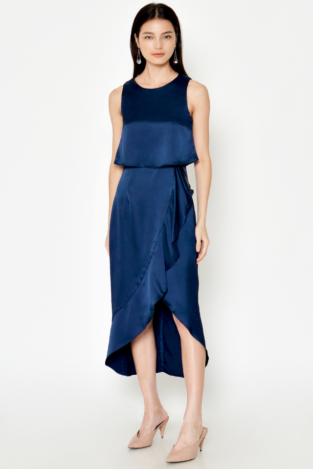 PRINCETON ASYMMETRICAL LAYERED RUFFLE DRESS
