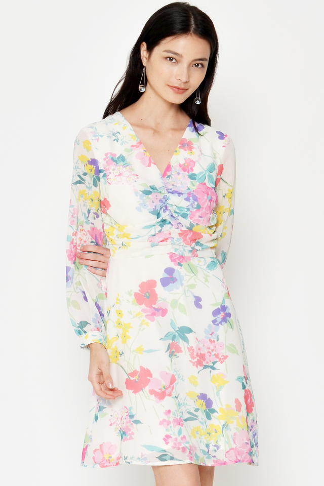 UMI FLORAL RUCHED DRESS