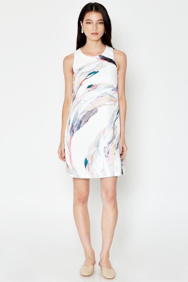 GLETIA ABSTRACT PRINT SHIFT DRESS