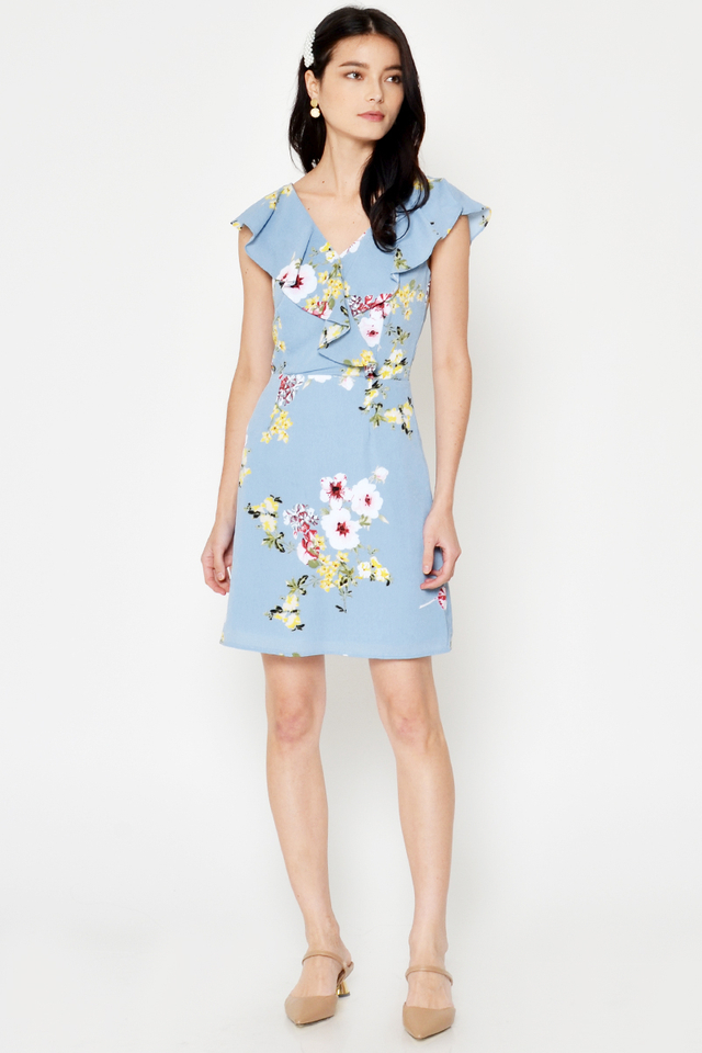 EUGENIA FLORAL RUFFLE DRESS