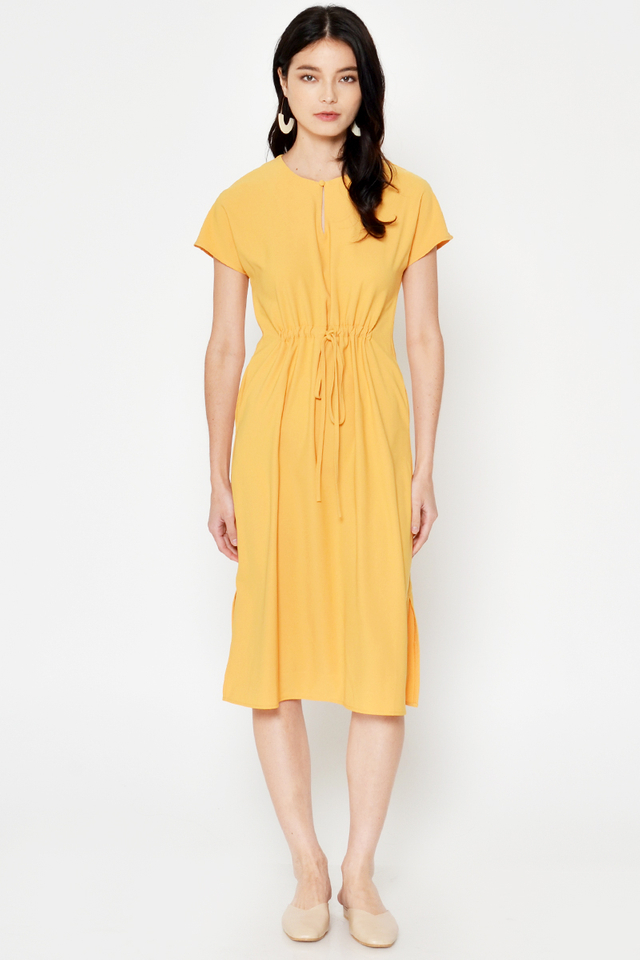 LARIEN DRAWSTRING MIDI DRESS
