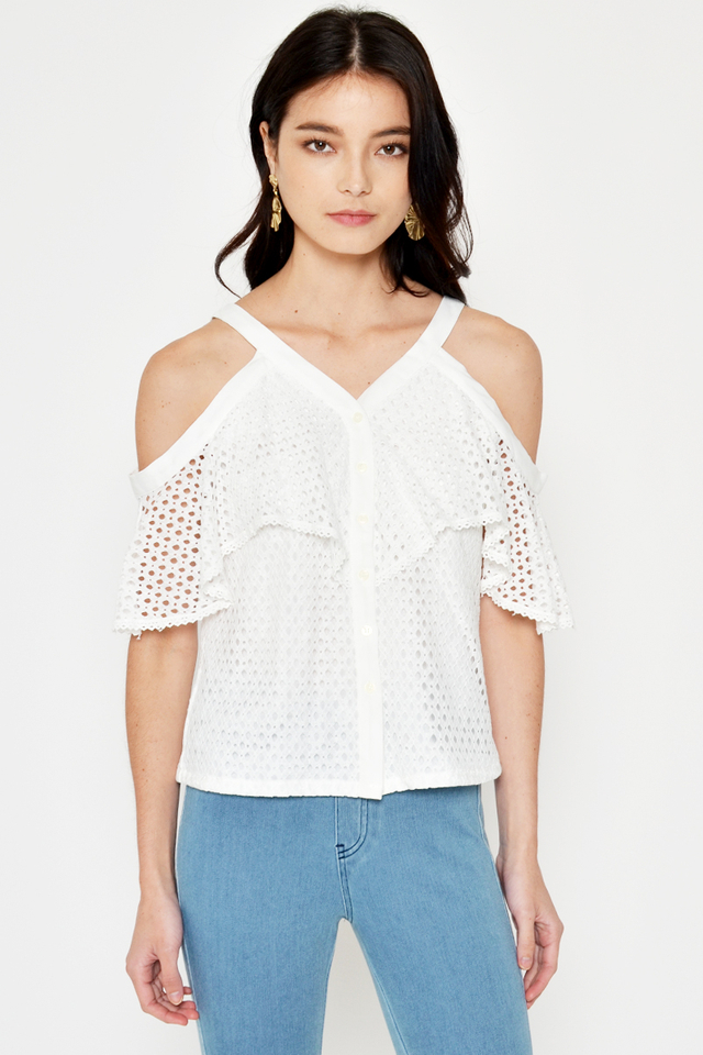*BACKORDER* MELANIE DROP SHOULDER CROCHET TOP
