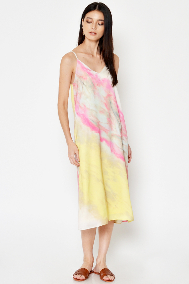 ANABEL WATERCOLOUR MIDI DRESS W SASH