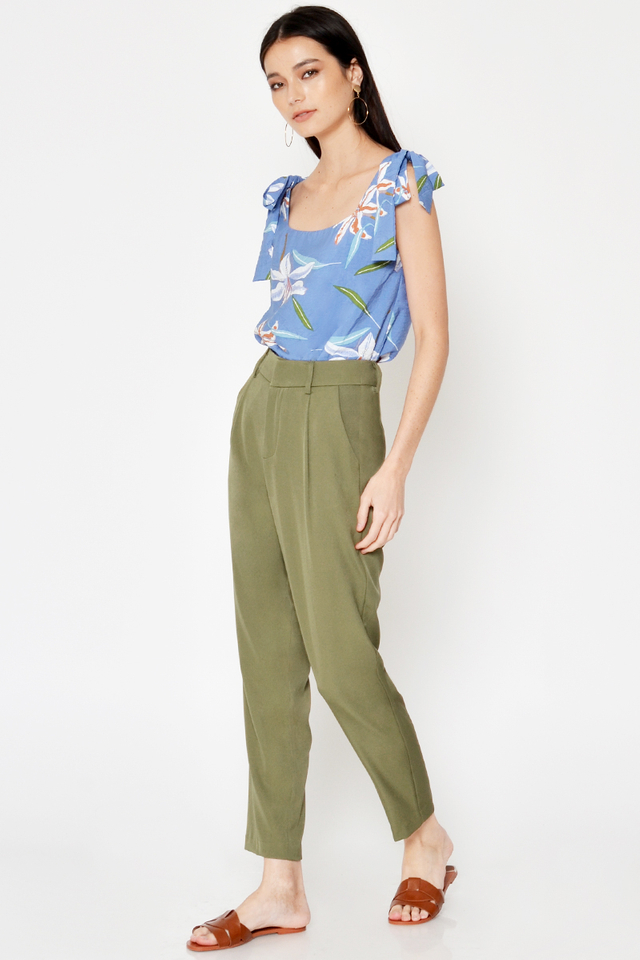 DINA FLORAL TIE SHOULDER TOP
