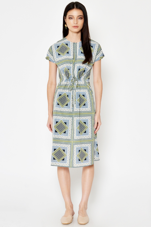 NELDI ABSTRACT DRAWSTRING DRESS