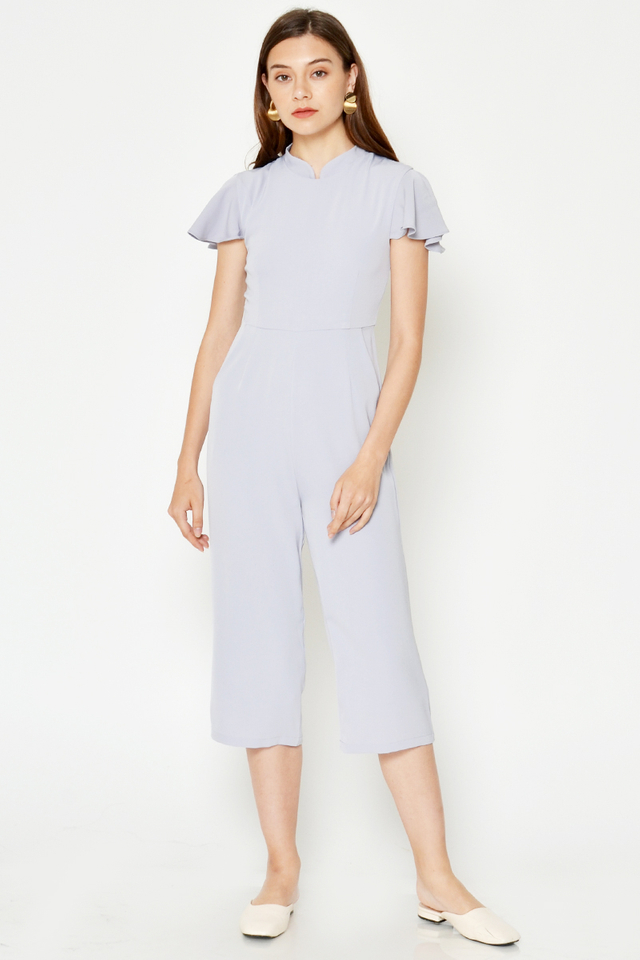 CELINNA FLUTTER SLEEVE JUMPSUIT W DETACHABLE COLLAR