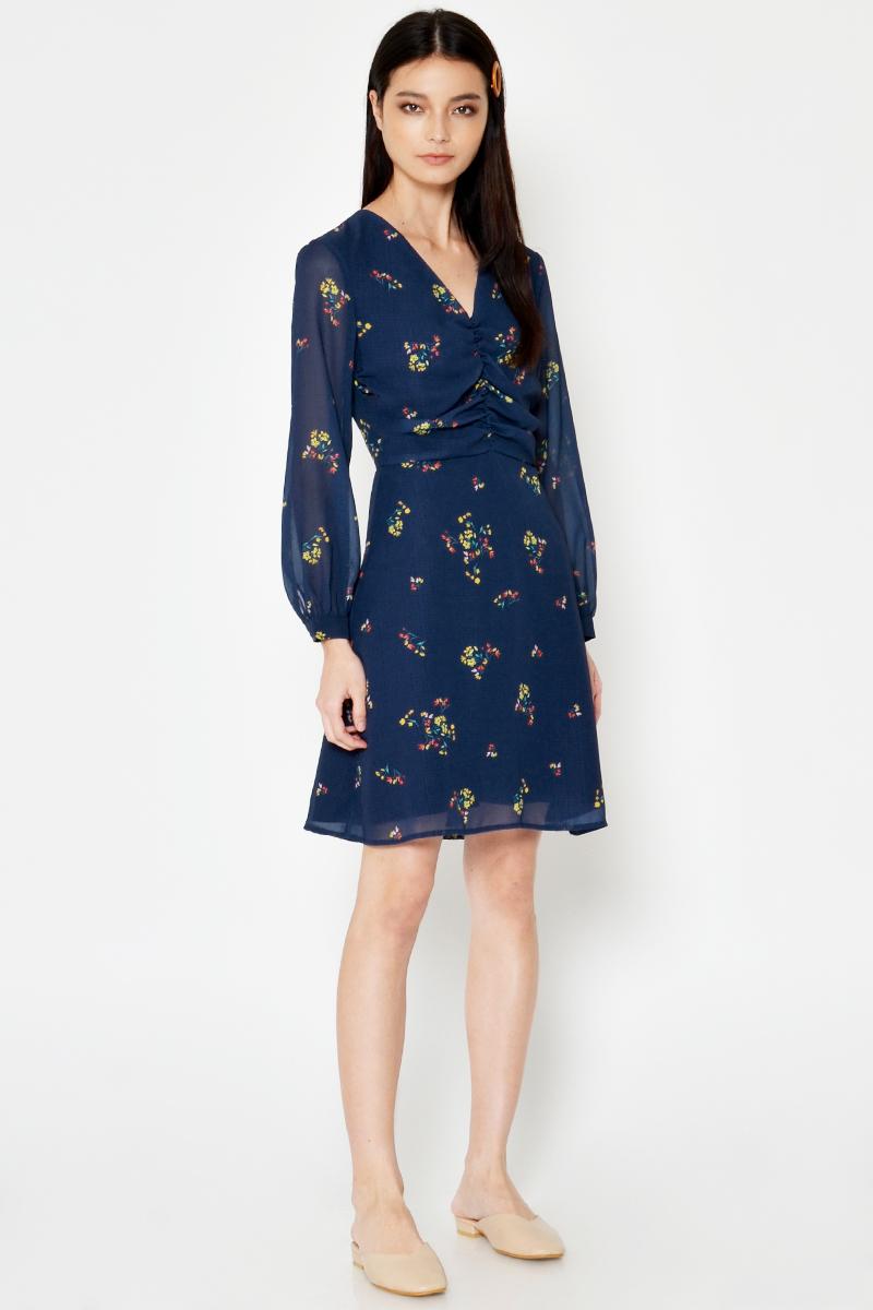 LYLA RUCHED FLORAL DRESS