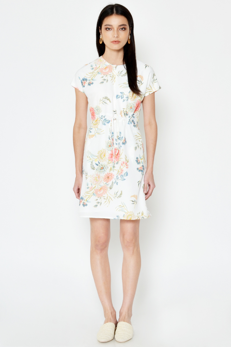 MARLEY FLORAL DRAWSTRING DRESS