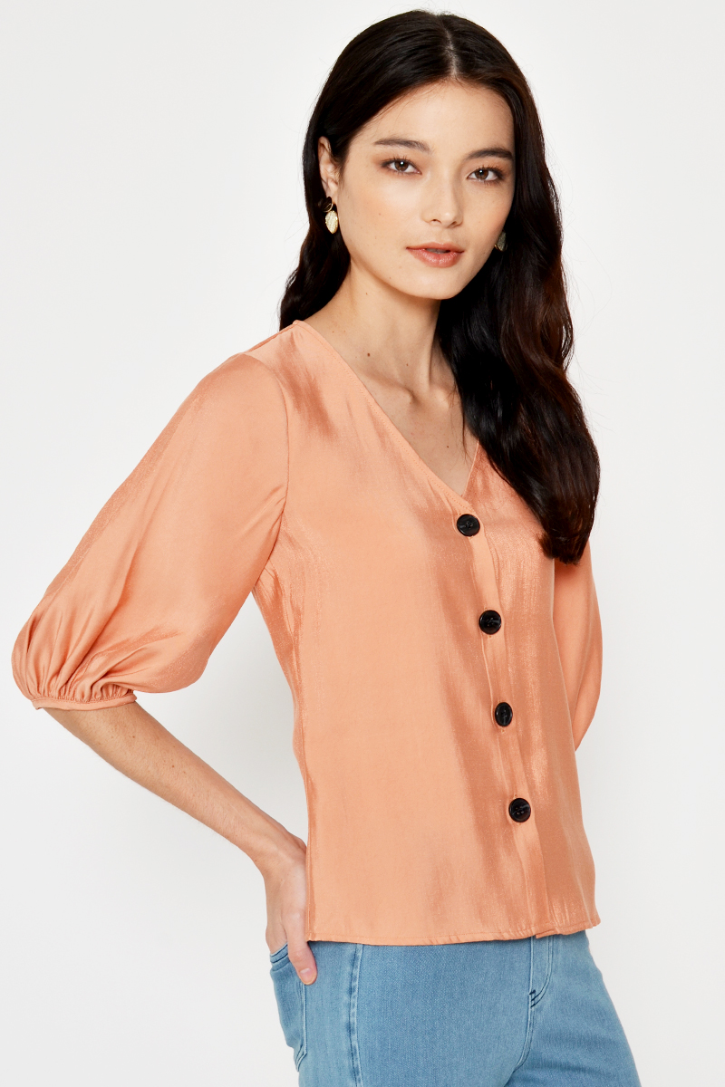 DELPHY PUFF SLEEVE BUTTONDOWN SHIRT
